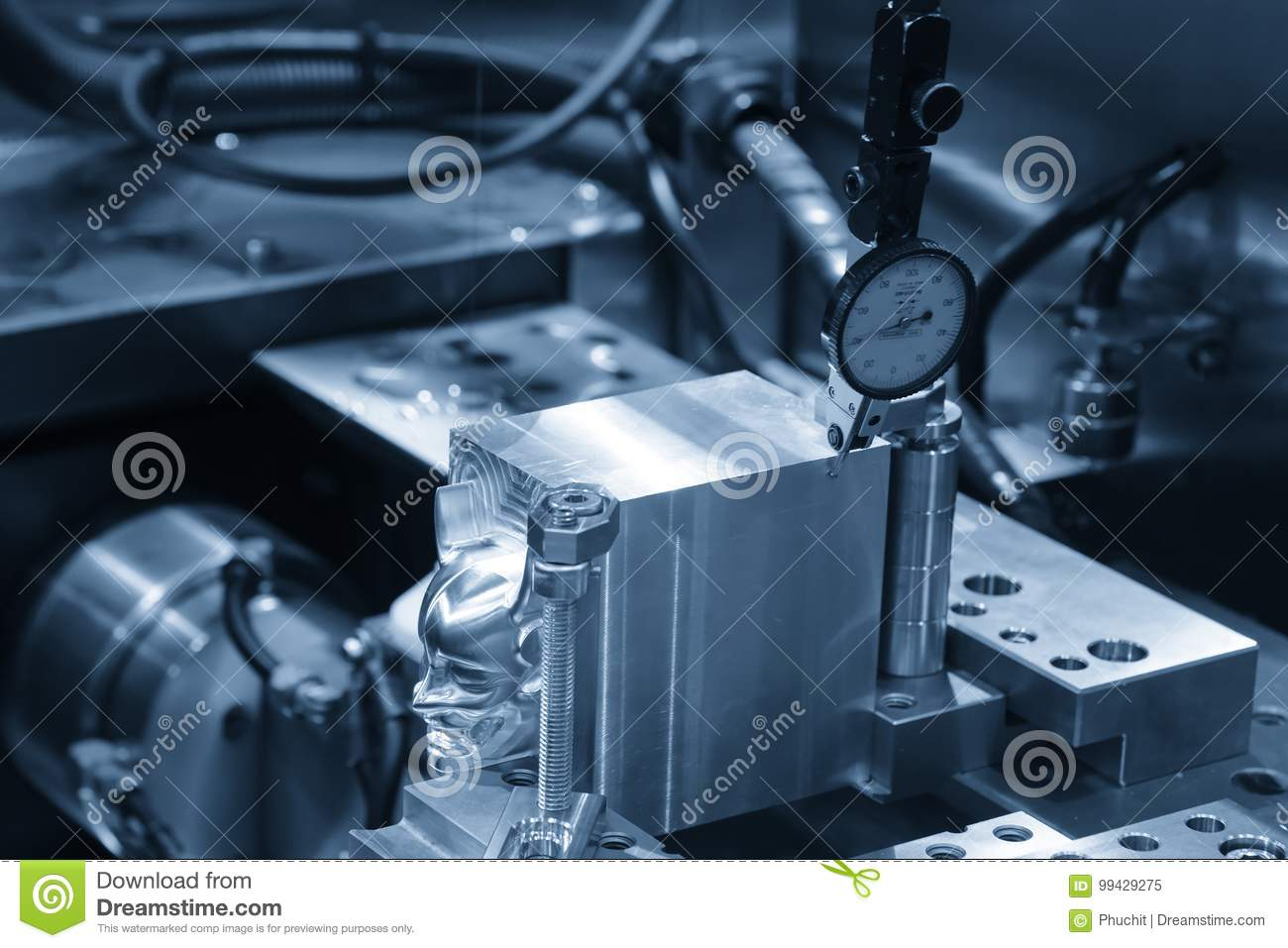 Setup The Work Pieces By Using The Dial Gauge. Stock Image - Image ...