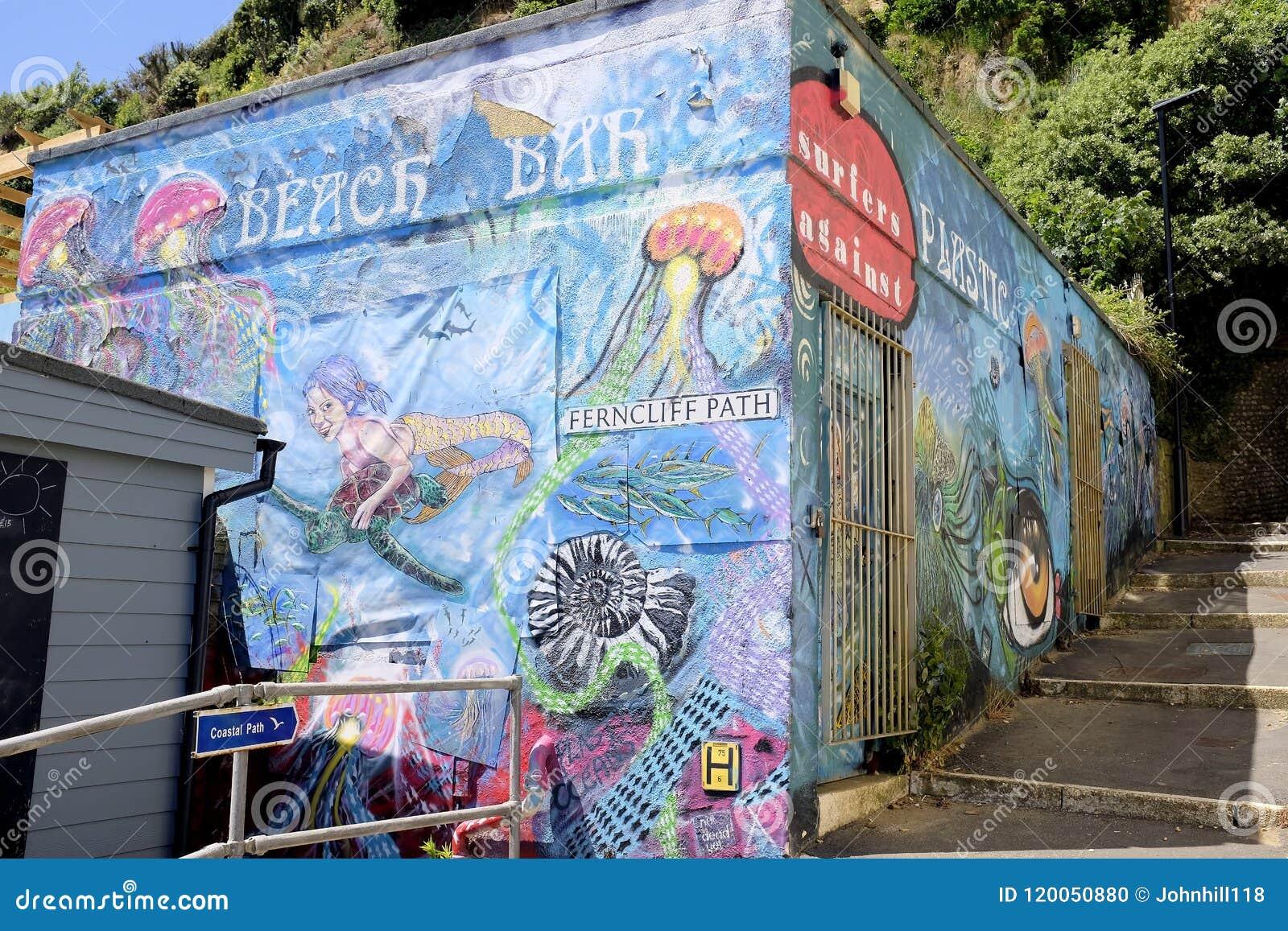 Setzen Sie Bargraphiken, Sandown, Insel von Wight auf den Strand