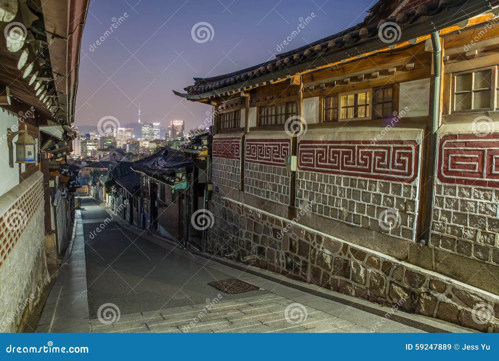 Seul, Corea del Sur en el distrito histórico de Bukchon Hanok