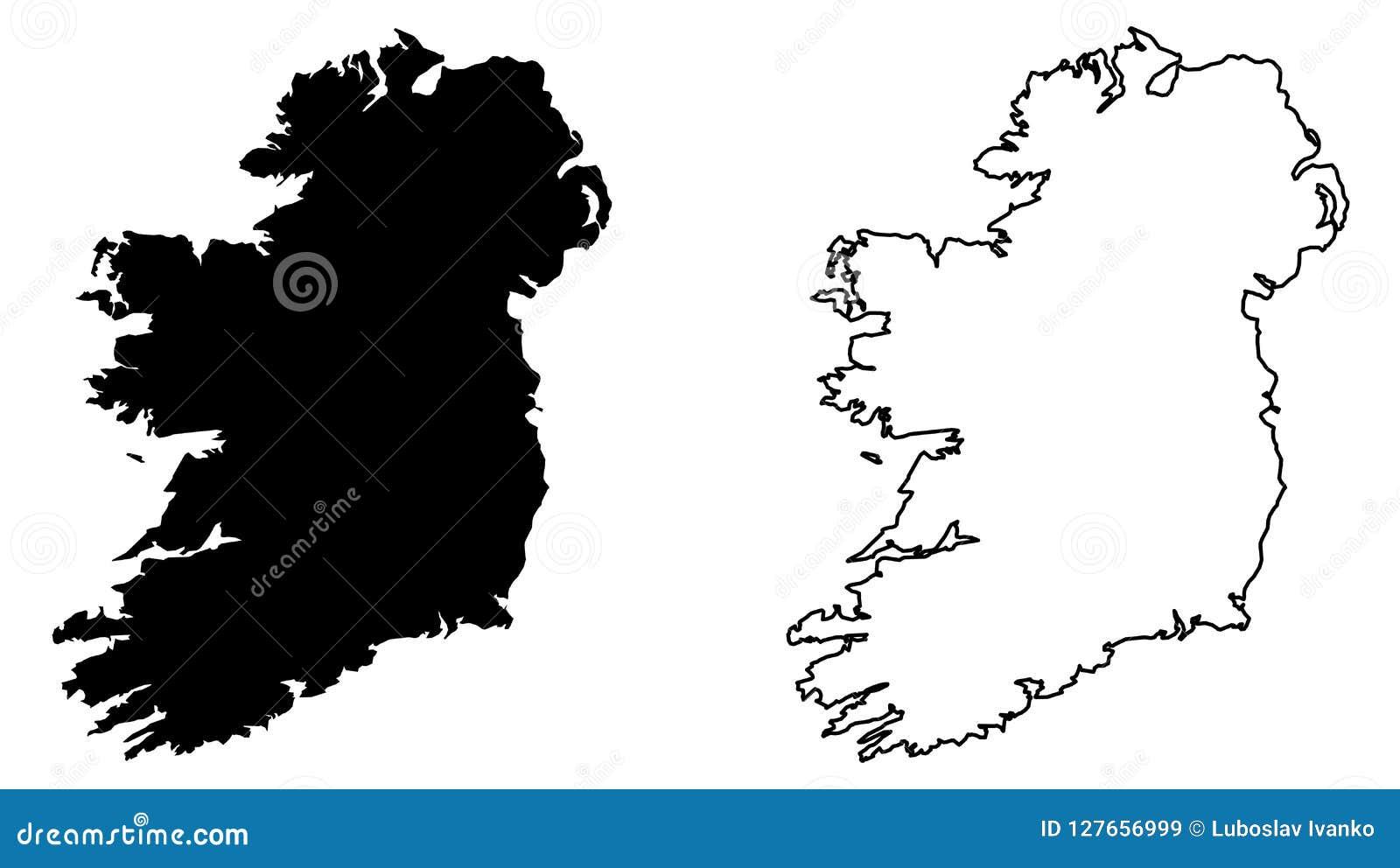 Seulement la carte pointue simple de coins de l île entière de l Irlande, incluent