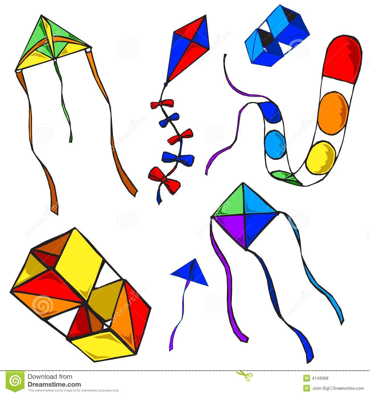 Five colorful vector kite designs (string omitted from raster version ...