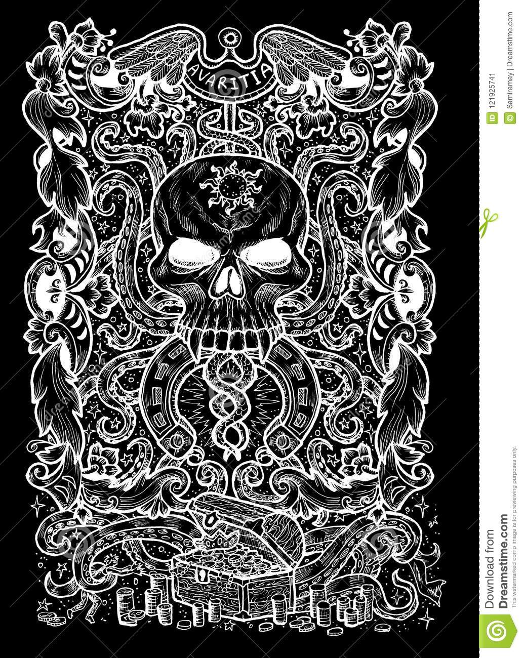 Greed Latin Word Avaritia Means Avarice Seven Deadly Sins Concept White Silhouette On Black Background Stock Illustration Illustration Of Fantasy Ancient 121925741
