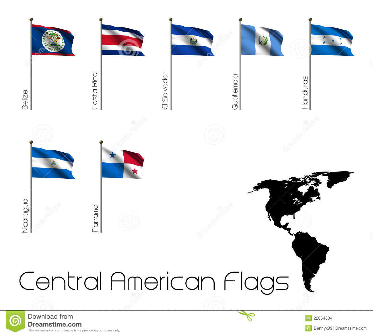 Seven Flags Of Central America Stock Illustration Illustration Of Banners Region 22864634