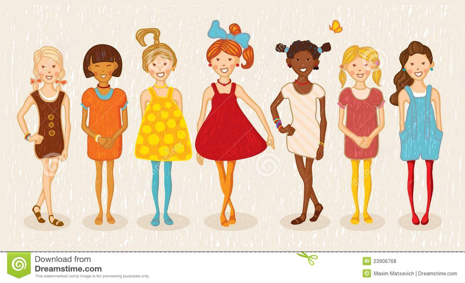 Seven Girls Illustration Set Royalty Free Stock Photos