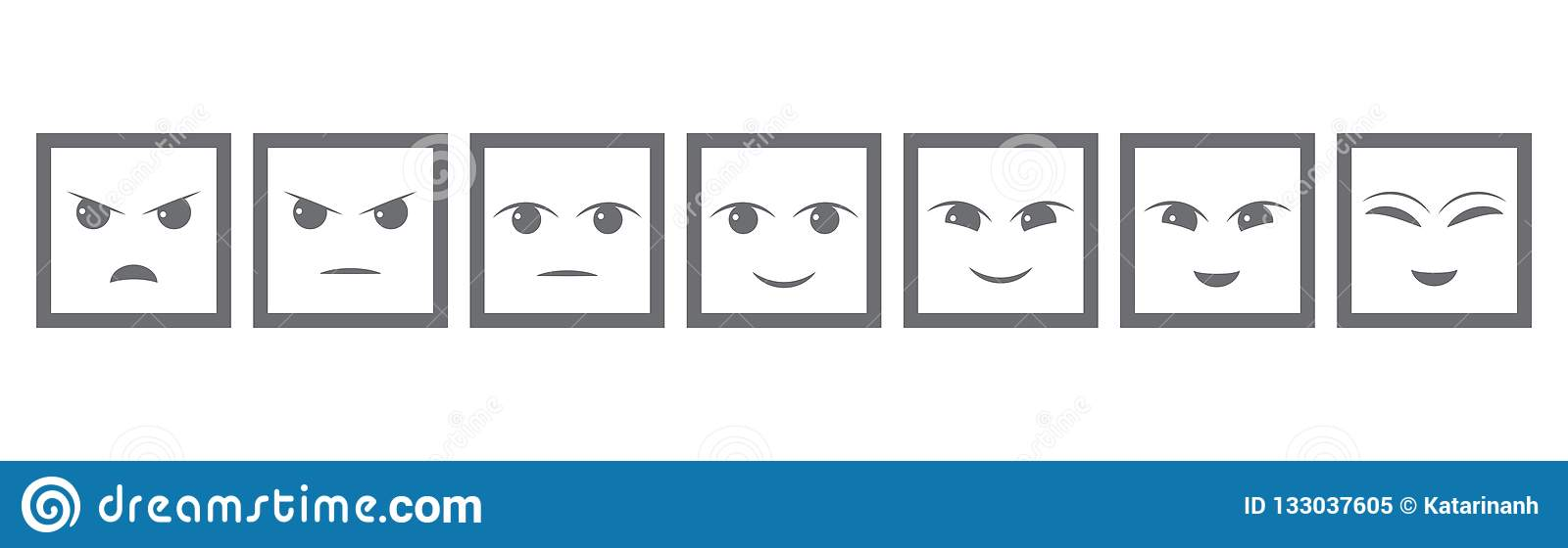 Seven Gray Faces Feedback/Mood. Iconic illustration of satisfaction level. Range to assess the emotions of your content. User expe