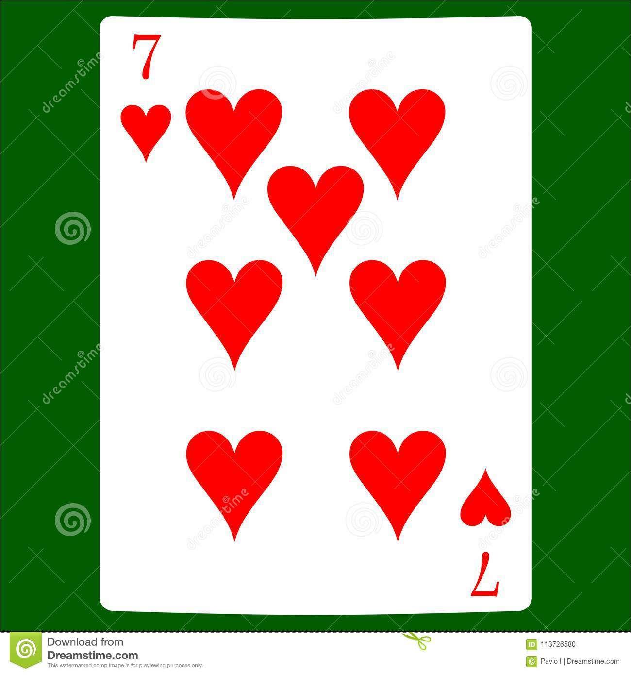 Seven Hearts. Card Suit Icon Vector, Playing Cards Symbols ...