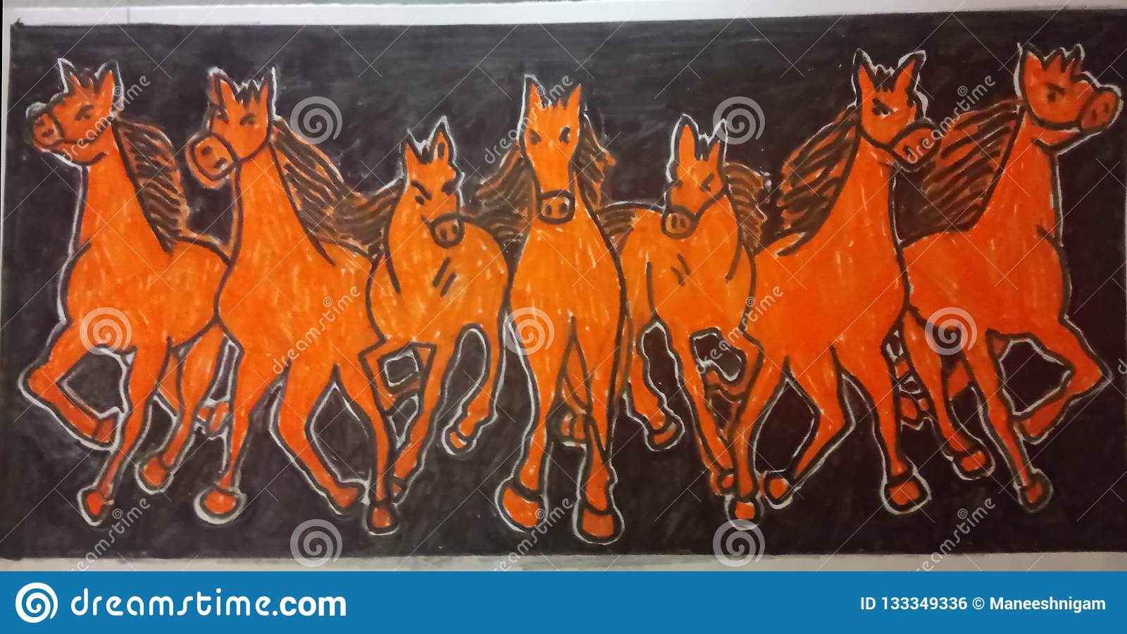 Seven Horses In Black Background Stock Illustration Illustration