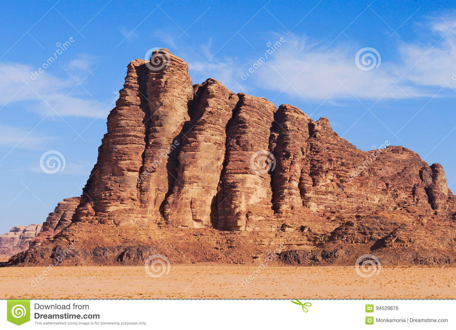Seven pillars of wisdom on Wadi Rum desert in Jordan