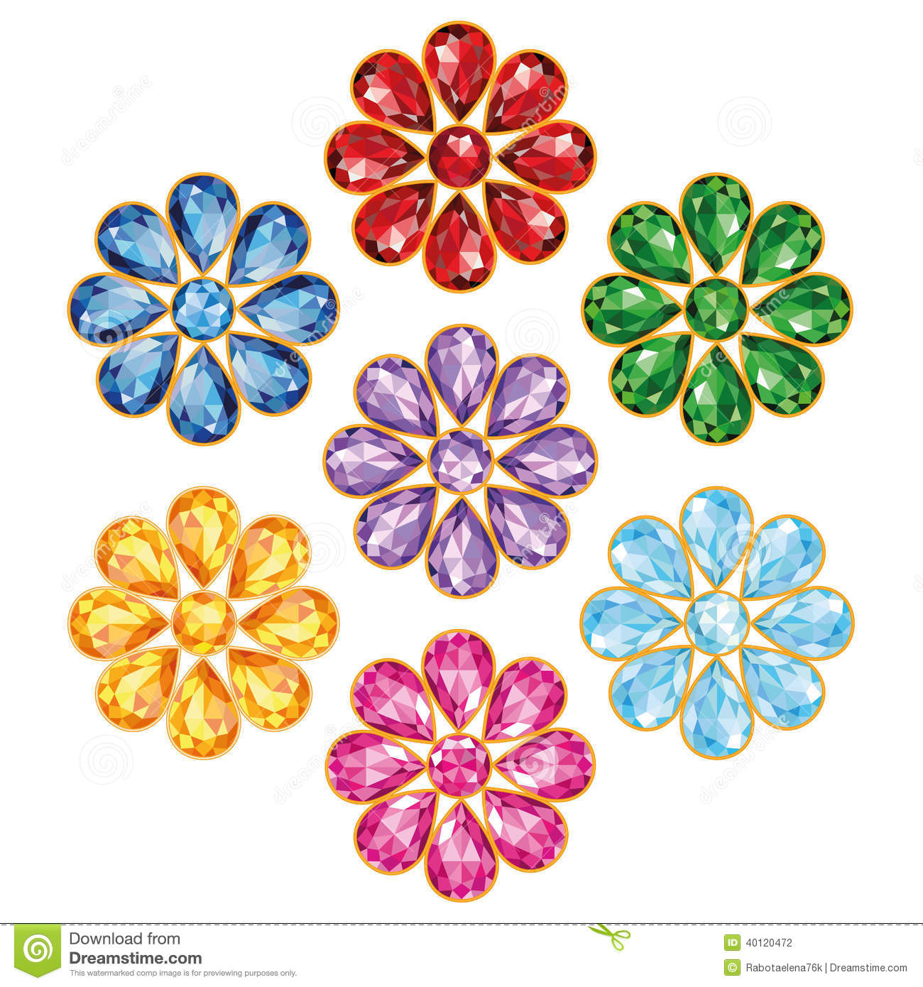 Seven Precious Flower Isolated Objects Stock Vector ...