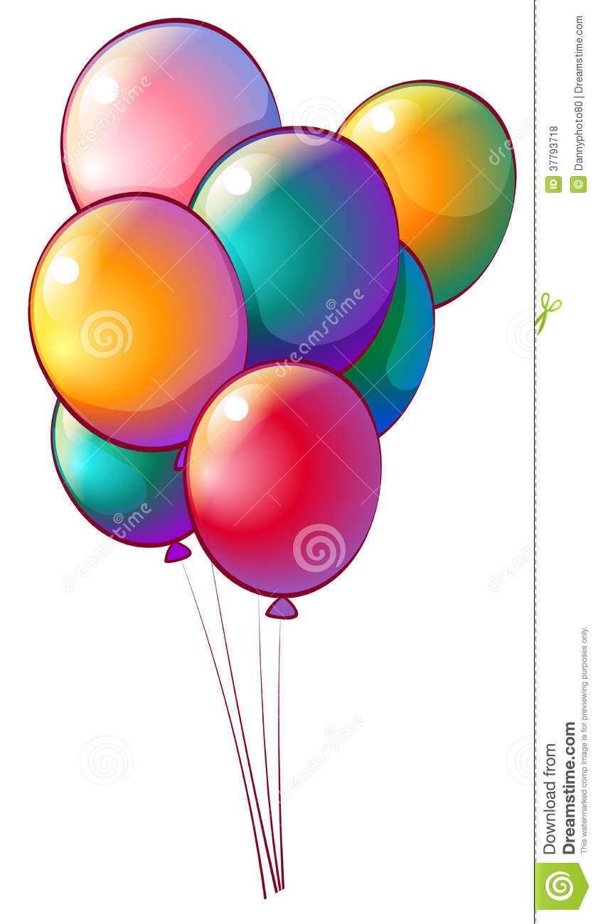 Seven rainbow-colored balloons