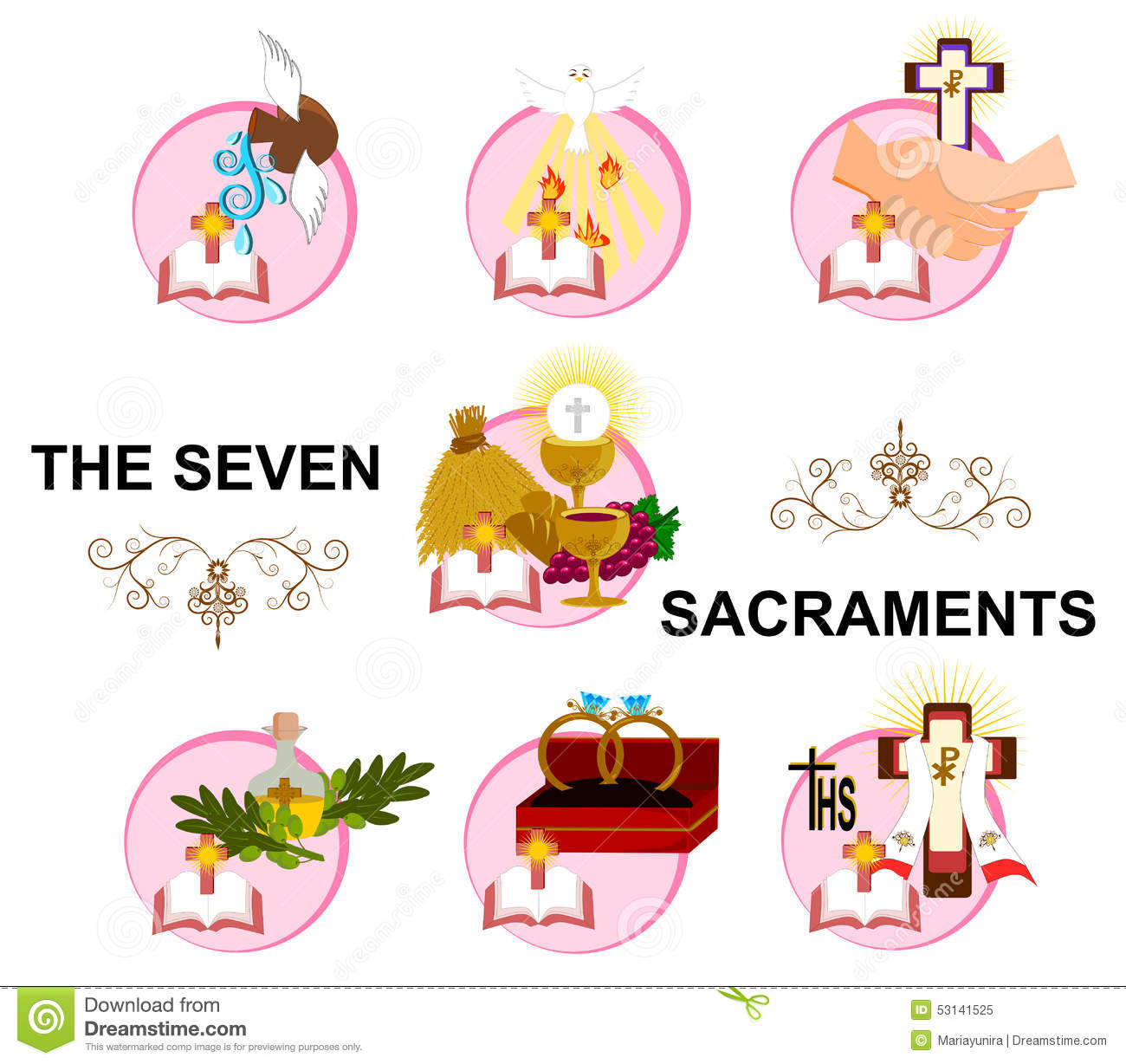 The Seven Sacraments Stock Illustration - Image: 53165271