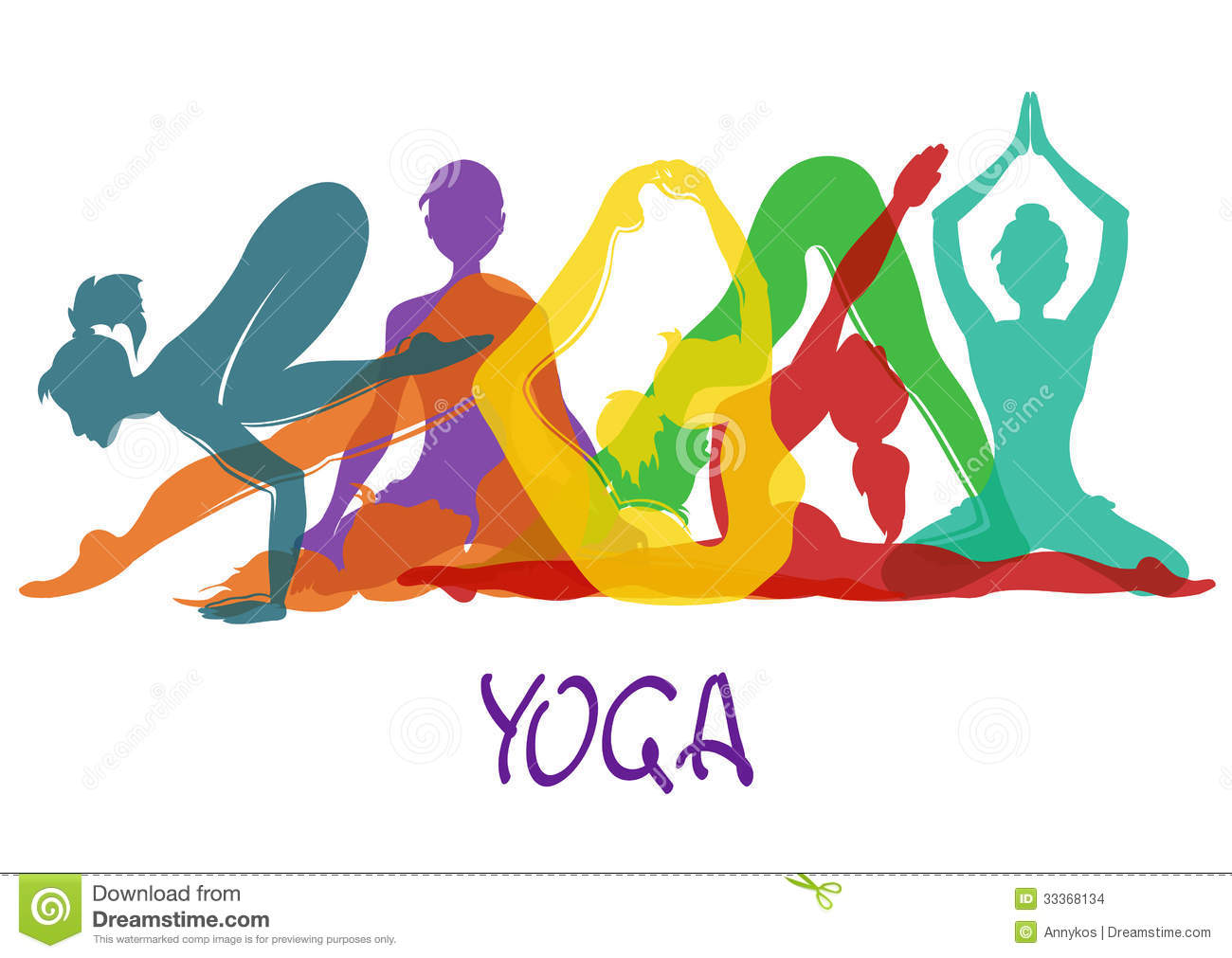 Seven Silhouettes Of Girl In Yoga Poses Stock Images - Image: 33368134