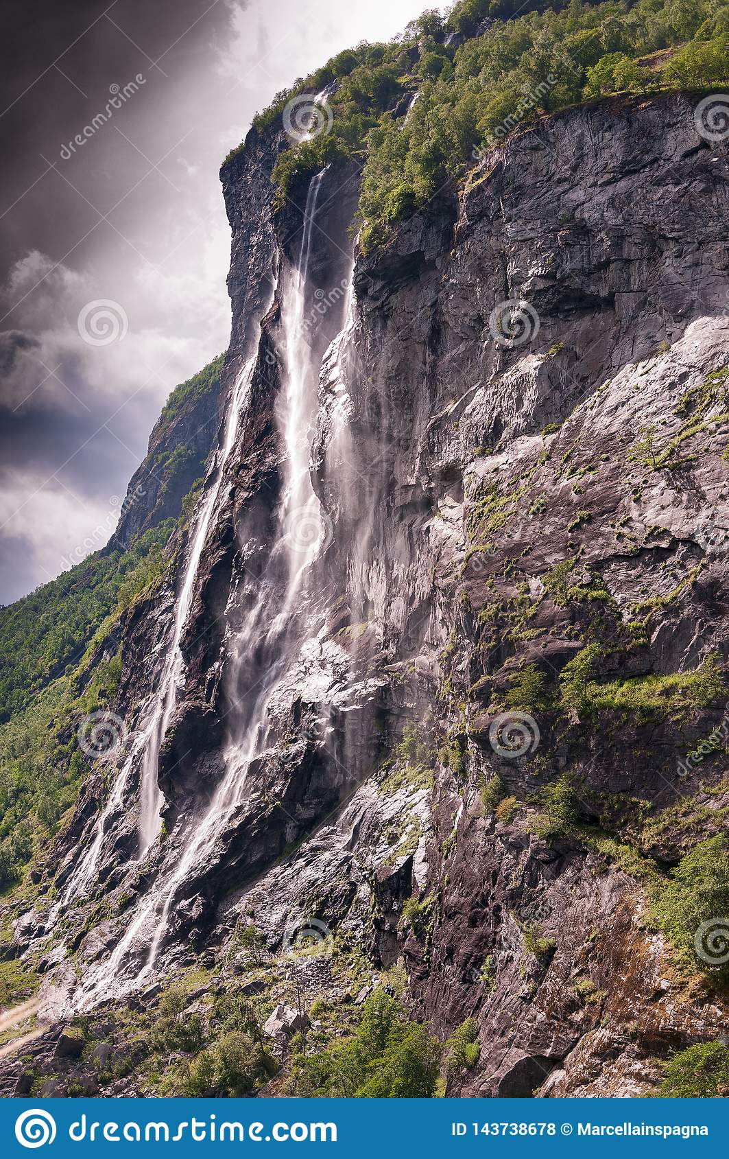 Seven sisters waterfall in Geiranger. Norway
