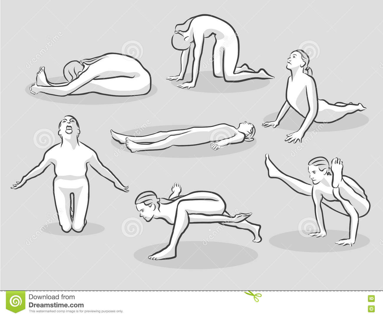 Seven Various Easy And Intermediate Yoga Poses Stock Vector