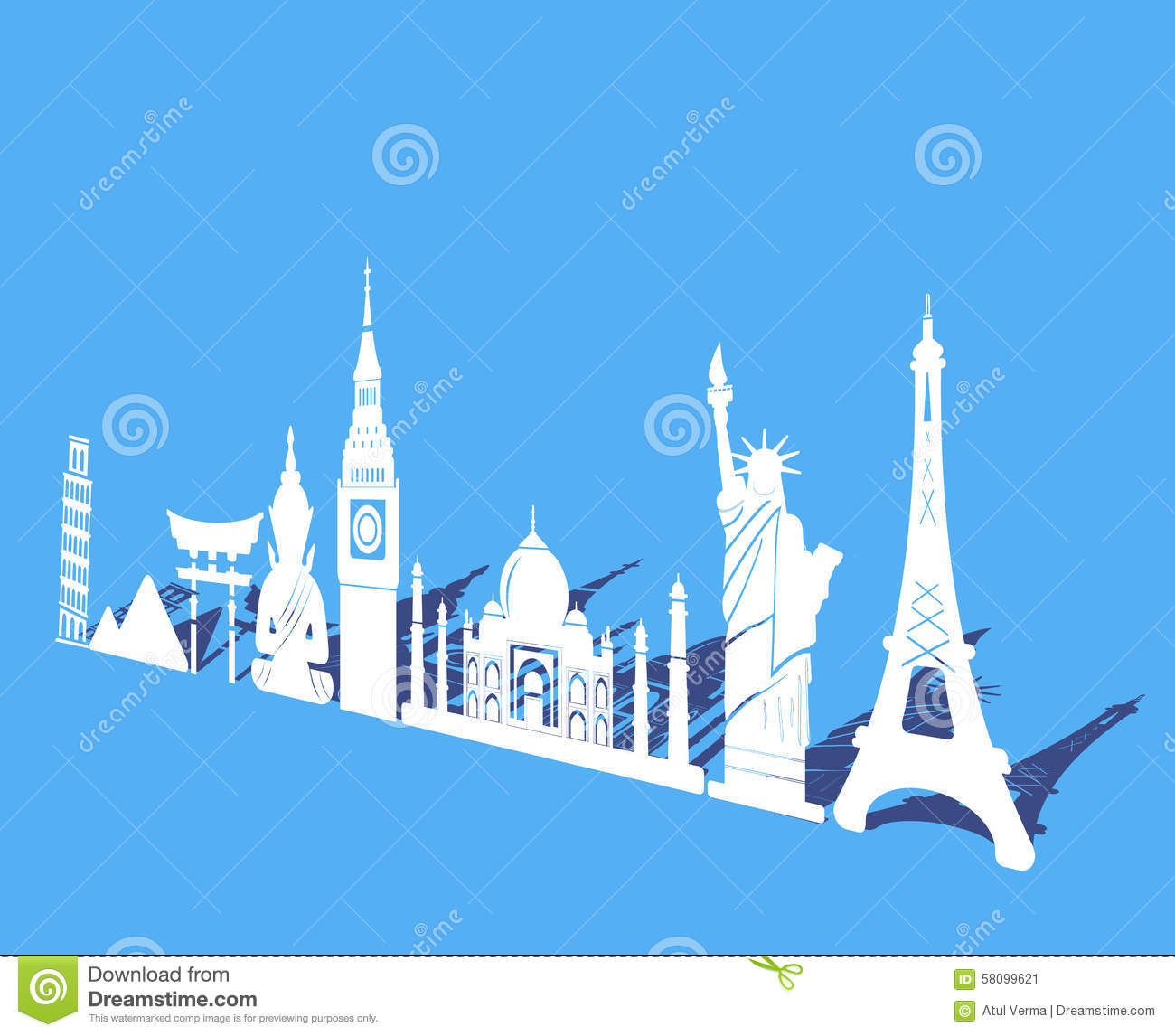 Seven Wonders Of World Travel And Tourism Background Around The World Stock Vector Image