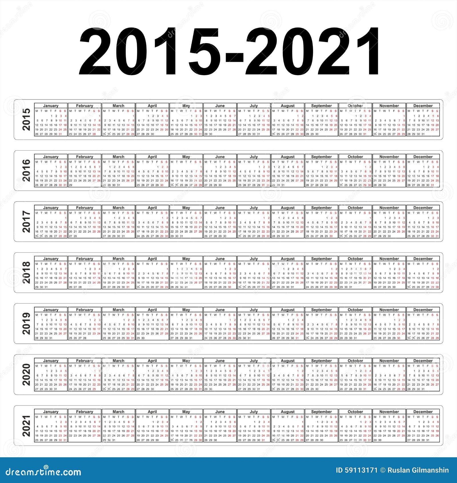 seven years vector calendars stock vector illustration of calender