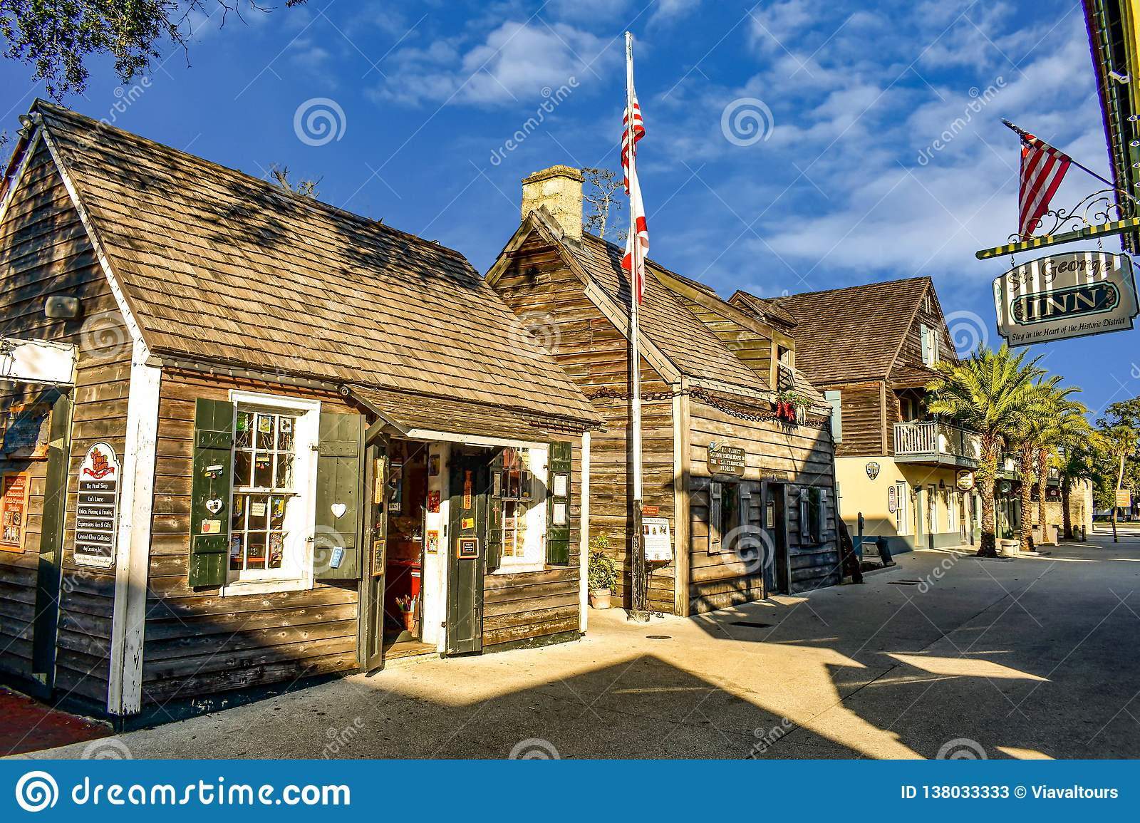 Seventeenth century mansions in St. George St. at Old Town in Florida`s Historic Coast 1