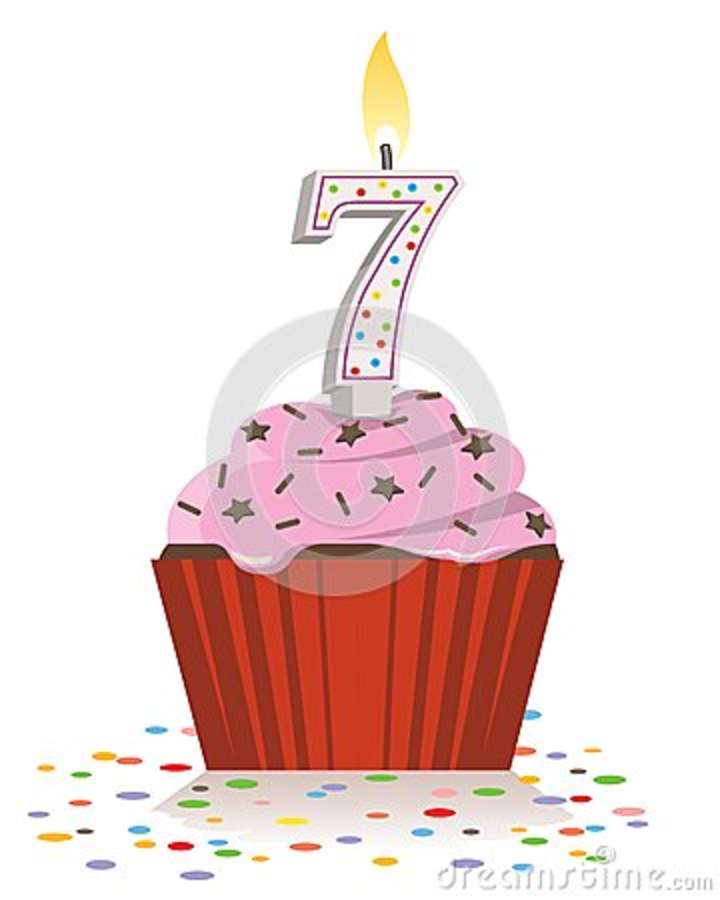 Seventh Birthday Cupcake With Lit Candle In Shape Of Number Seven