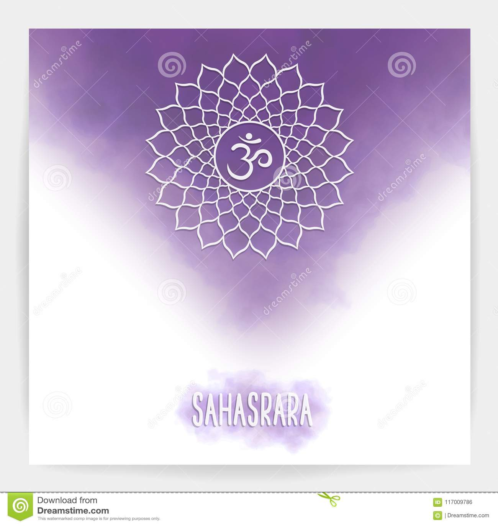 Seventh, Crown Chakra - Sahasrara Stock Vector