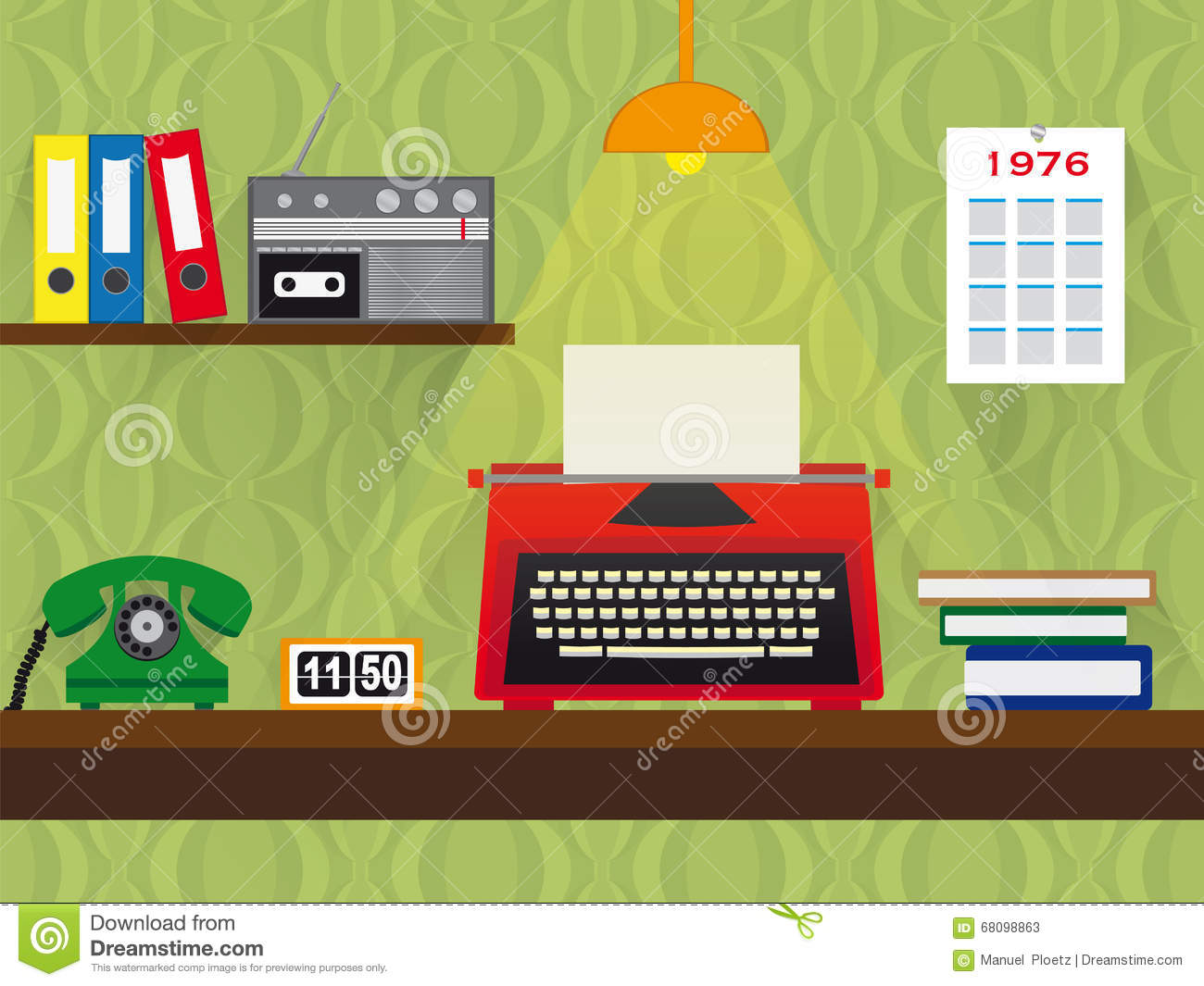 Seventies Retro Work Place With Typewriter, Telephone And Cassette ...