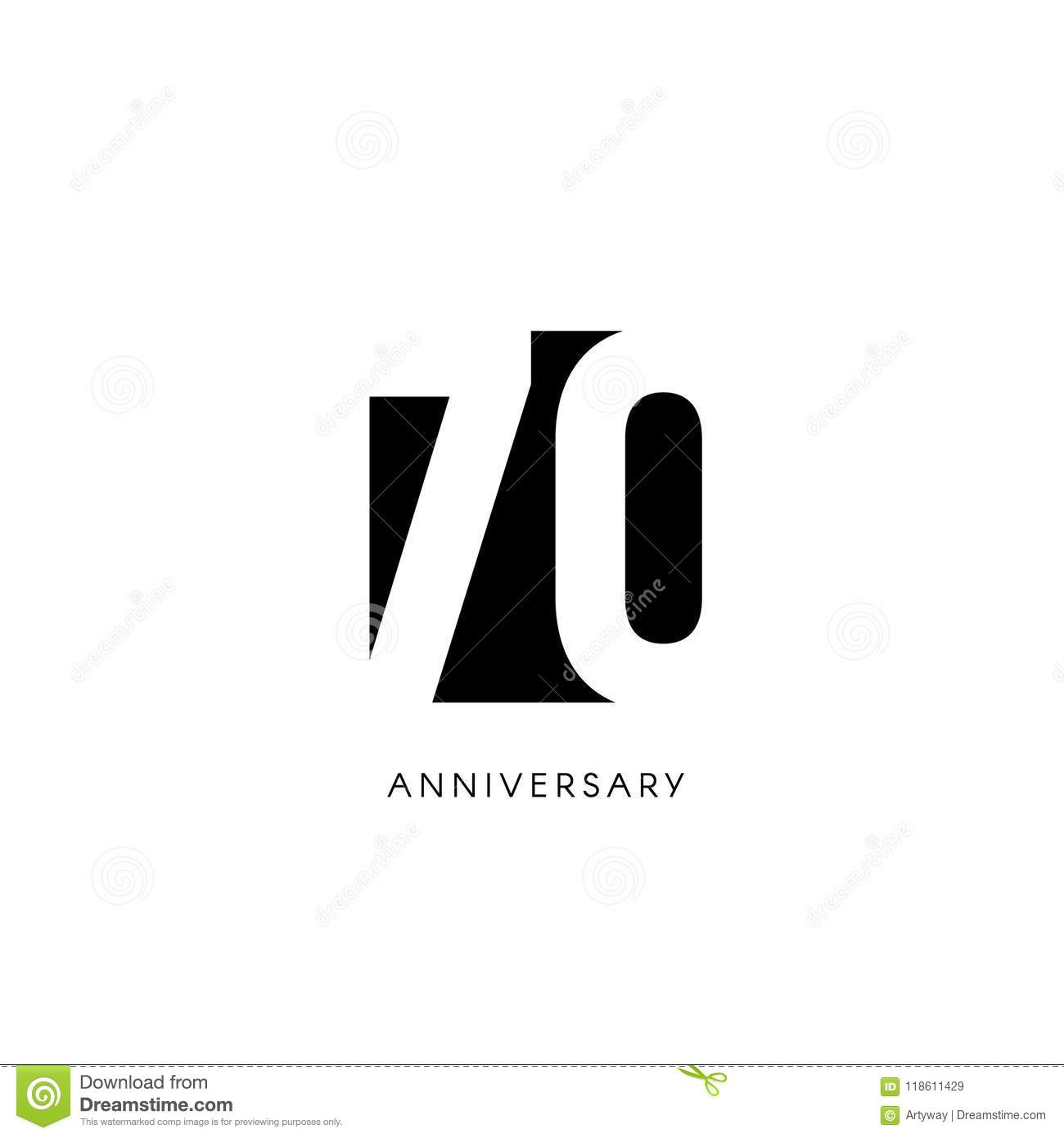 Seventieth Years 70th Jubilee Greeting Card Birthday Invitation 70 Year Sign Black Negative Space Vector Illustration On White Background
