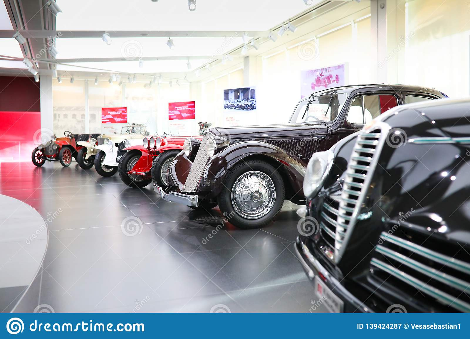 Several Alfa Romeo vintage cars on display at The Historical Museum Alfa Romeo