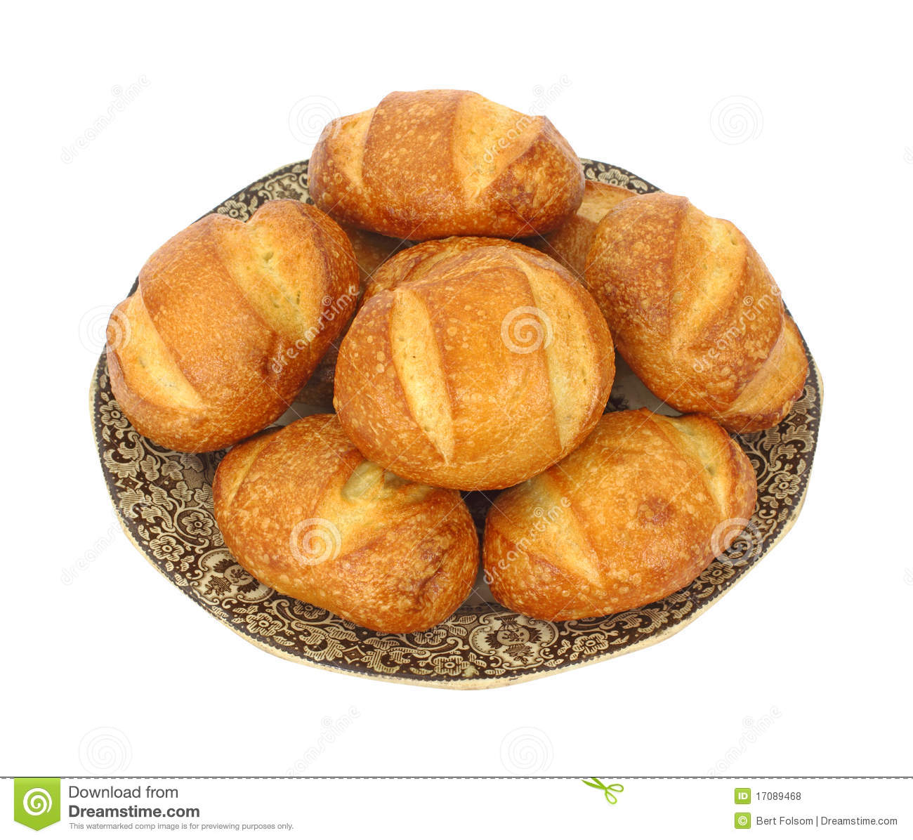 Several Bread Rolls On Old Plate Stock Photo - Image of brown ...