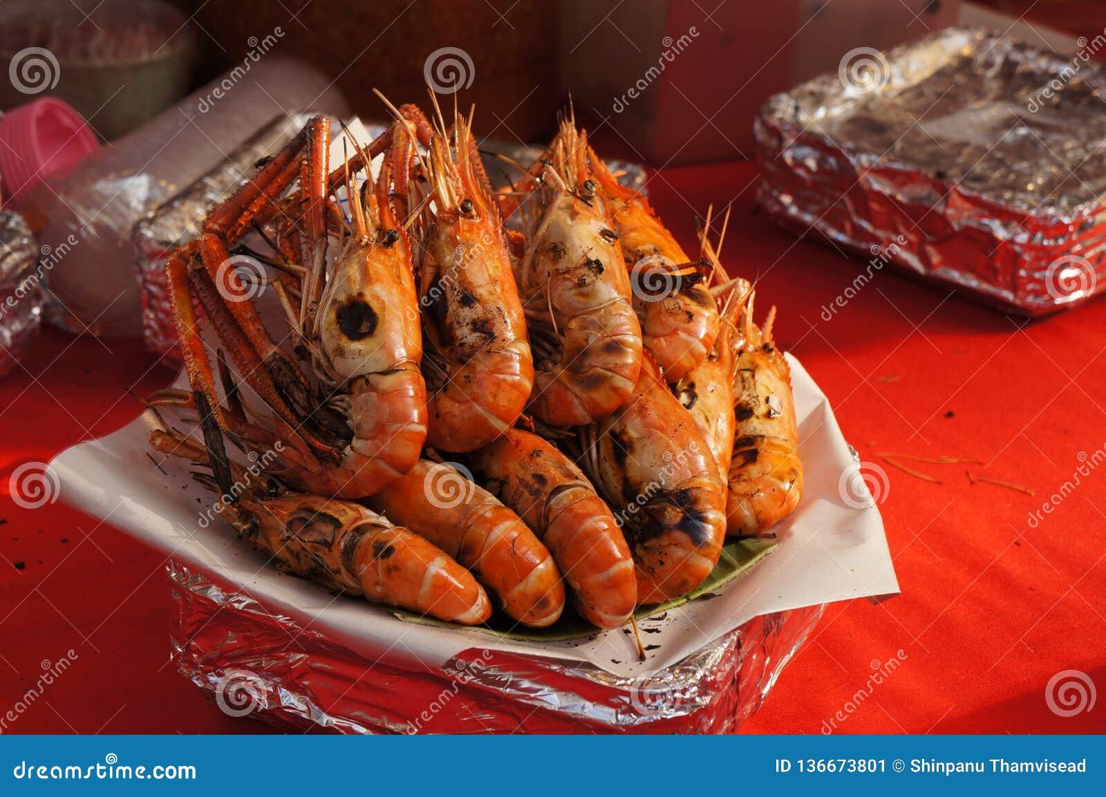 Shrimp Burnt In The Aluminium Foil Tray, Street Food In Thailand