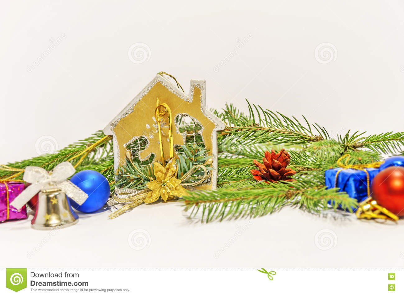 Several christmas decoration on green pine tree on white