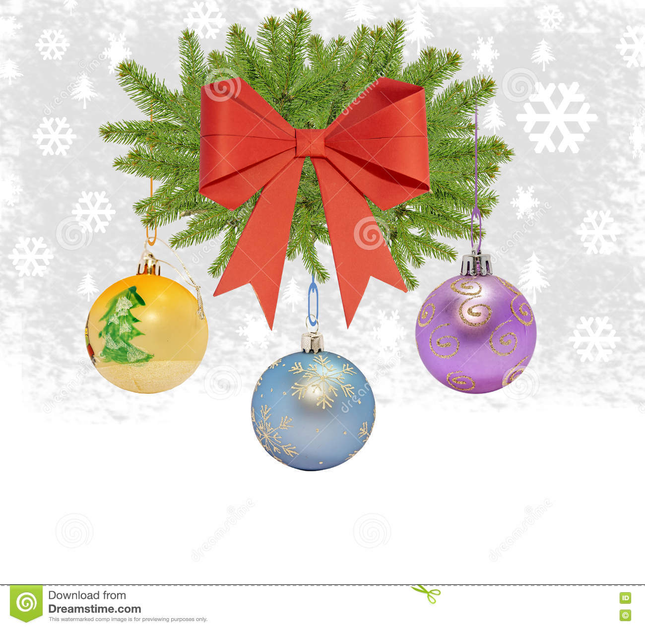 Several christmas decorative ball with bow and pine tree
