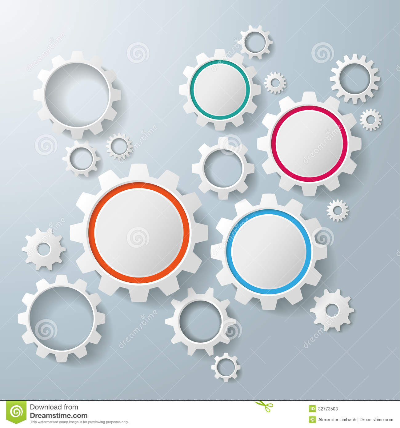 Infographic design on the grey background eps 10 vector file - Several Colored And White Gears Infographic Stock Photos