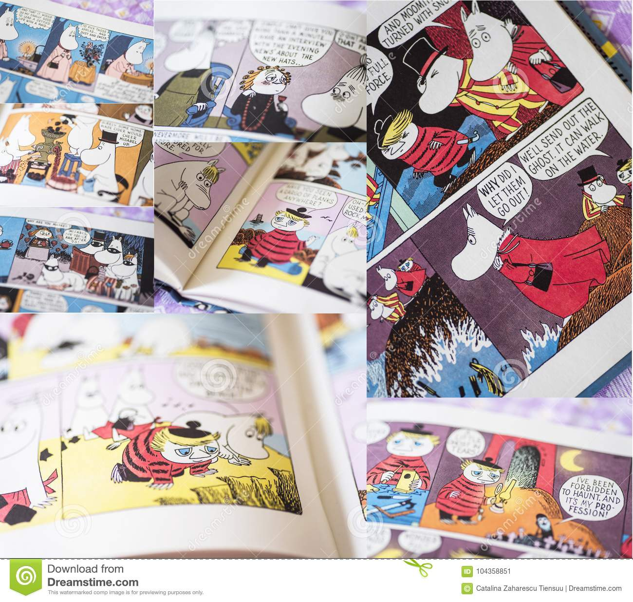 Several Colorful Pages From Moomin Books Editorial Photo Image Of