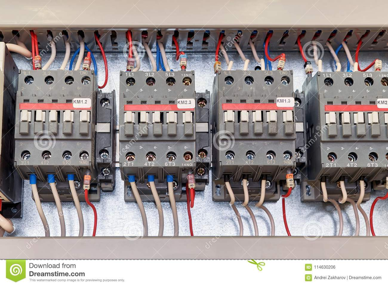 Several Electrical Contactor On A Mounting Panel In Electrical ...