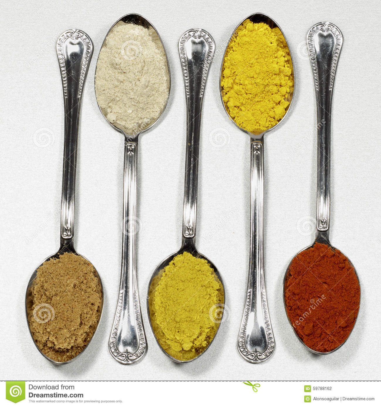 Spoonfuls Of Several Types Of Powder Spices Stock Photo - Image ...