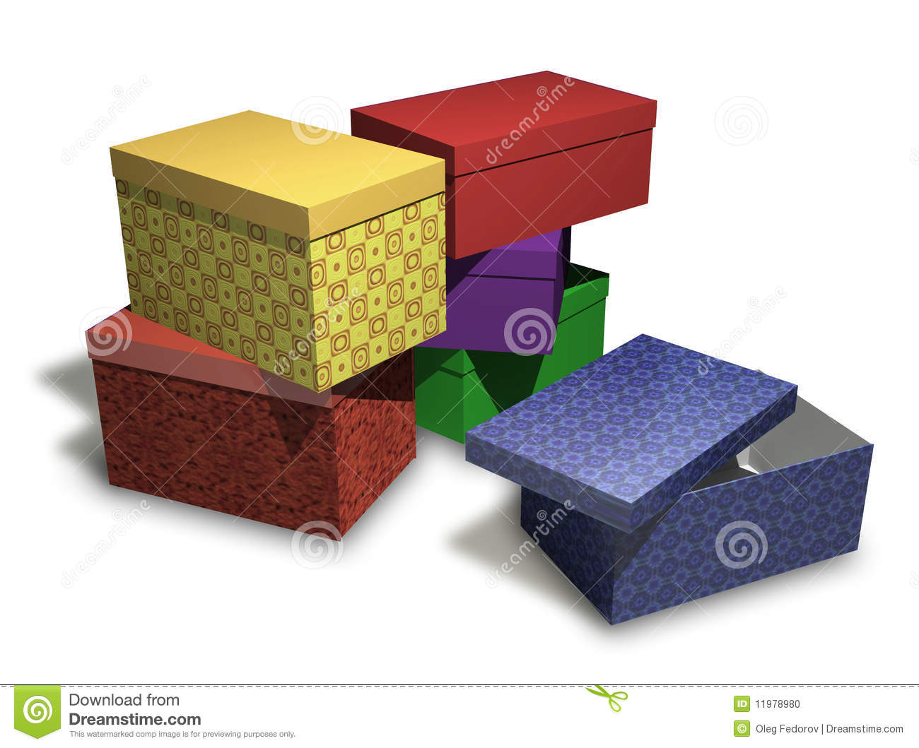 Several Multi Colored Gift Boxes On White Backgrou Stock