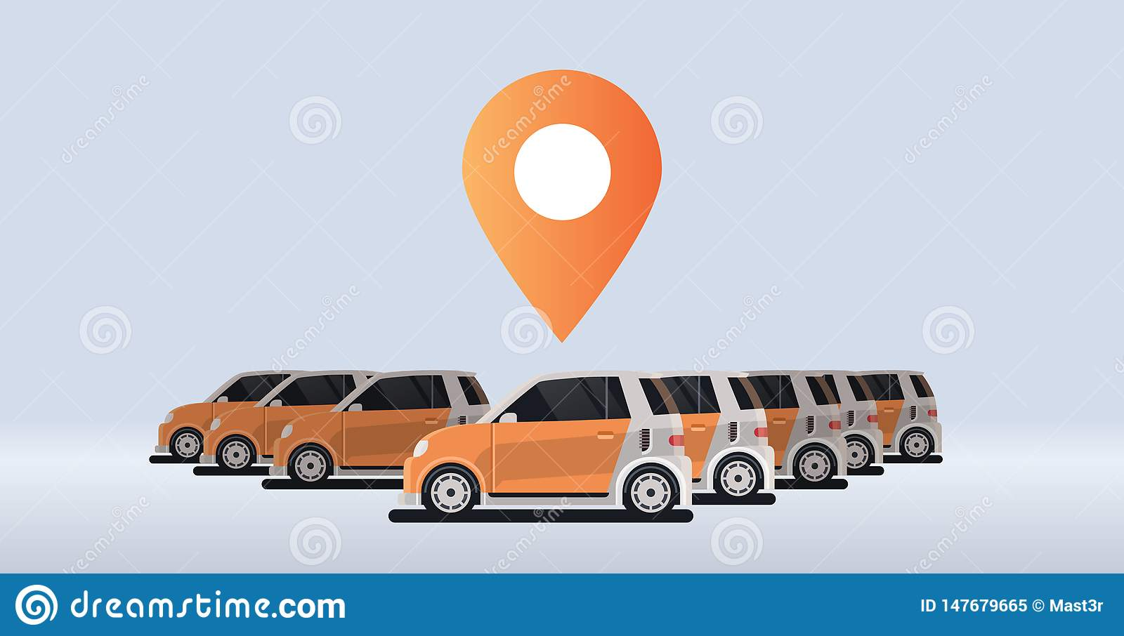 Several parked rental car sharing geo location mark carsharing concept online auto rent carpooling service flat
