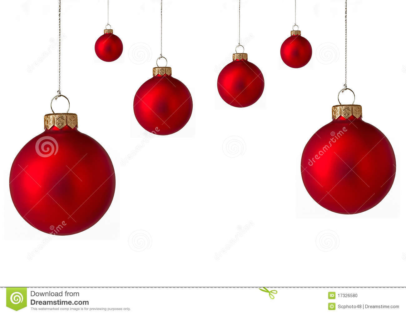 Stock Photo: Several red Christmas baubles. Image: 17326580