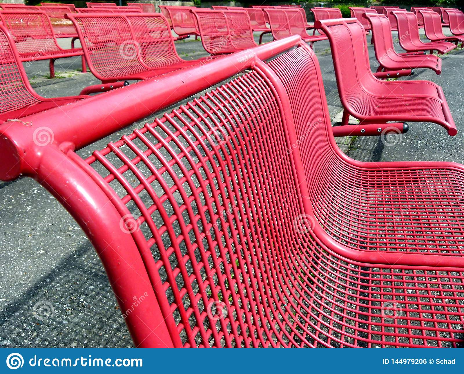 Picture of: Several Rows Of Seats With Red Metal Chairs Stock Photo Image Of Wire Lattice 144979206