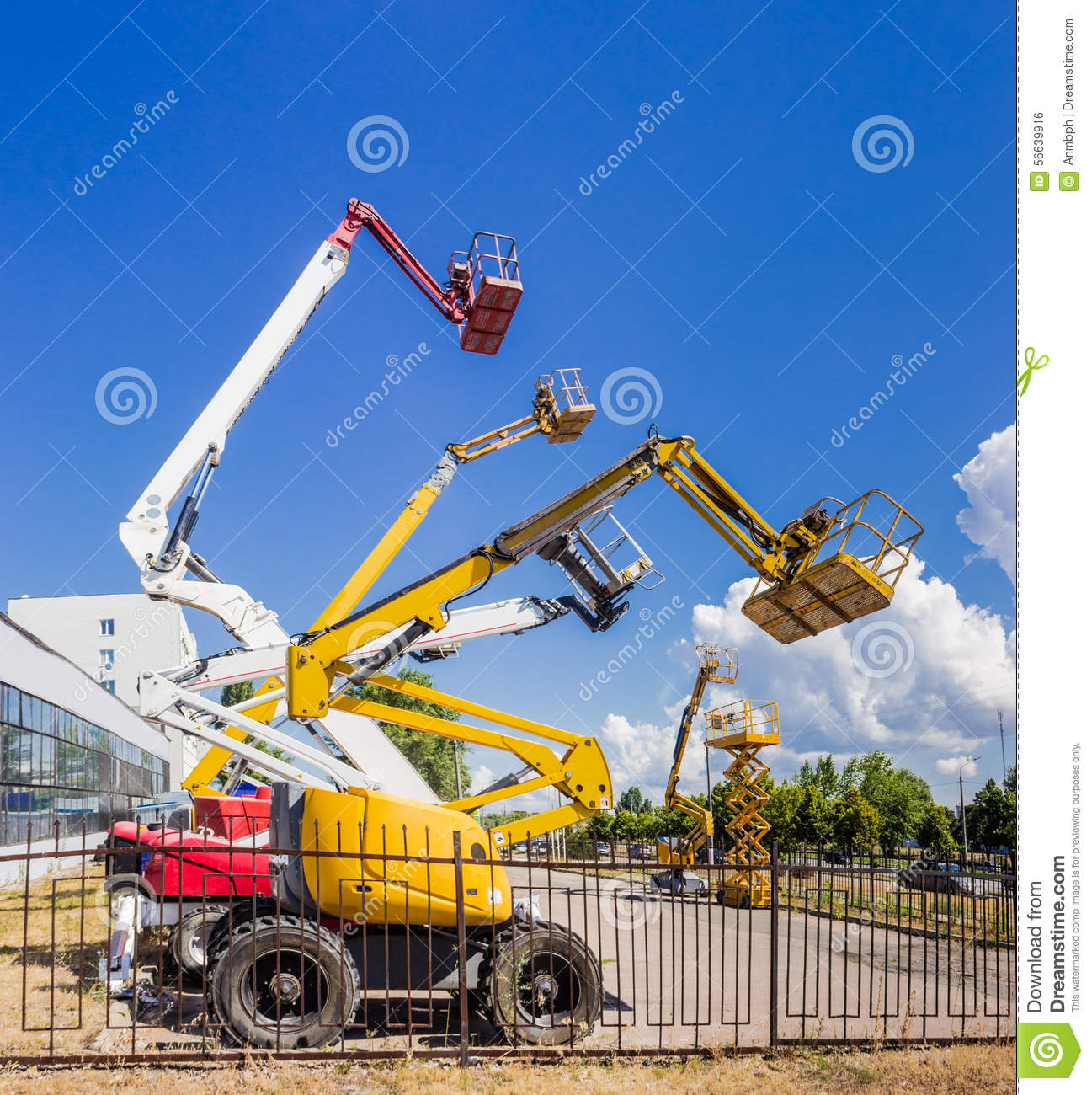 Construction Boom Lift Hydraulic : Several various self propelled articulated boom lift and
