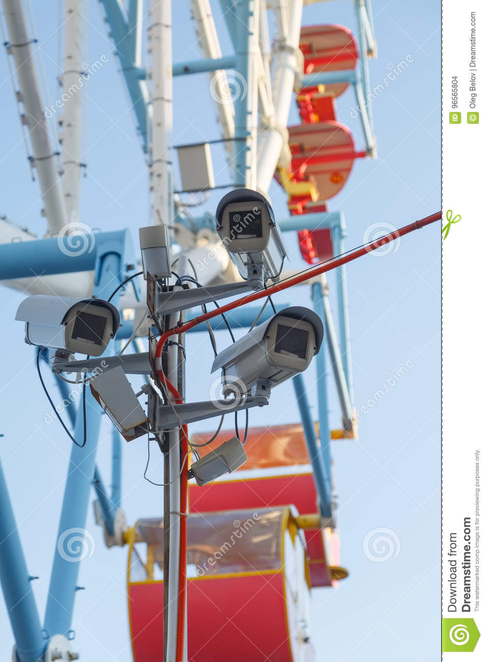 Several video cameras are monitoring the public order in the amusement park