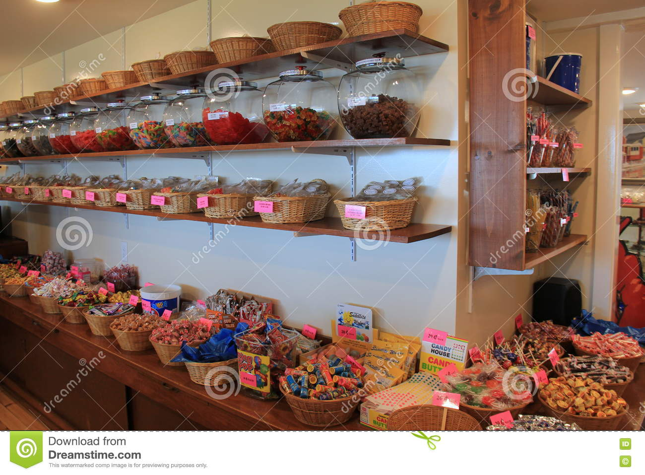 Several Wood Baskets Filled With Flavors Of Salt Water Taffy
