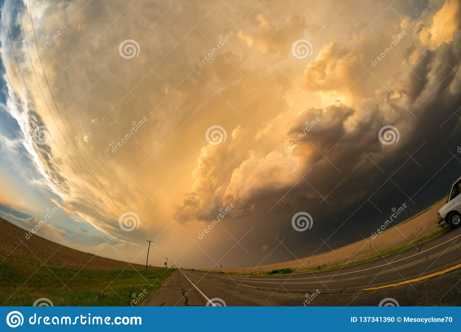 Fisheye view of a Great Plains supercell thunderstorm over the road in the northern Texas panhandle.