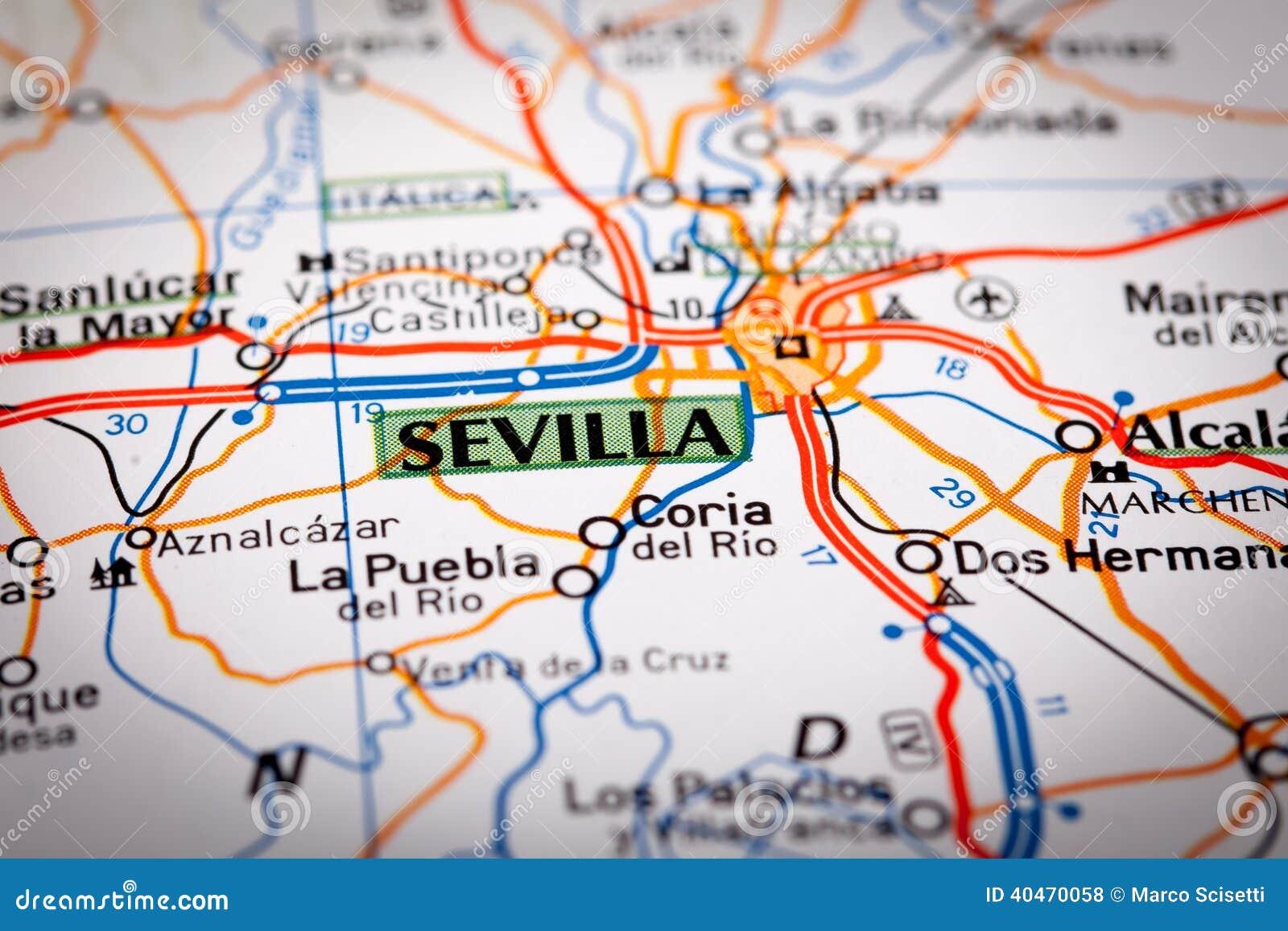 mapa de sevilha espanha Sevilha Em Um Mapa De Estradas Foto de Stock   Imagem de  mapa de sevilha espanha