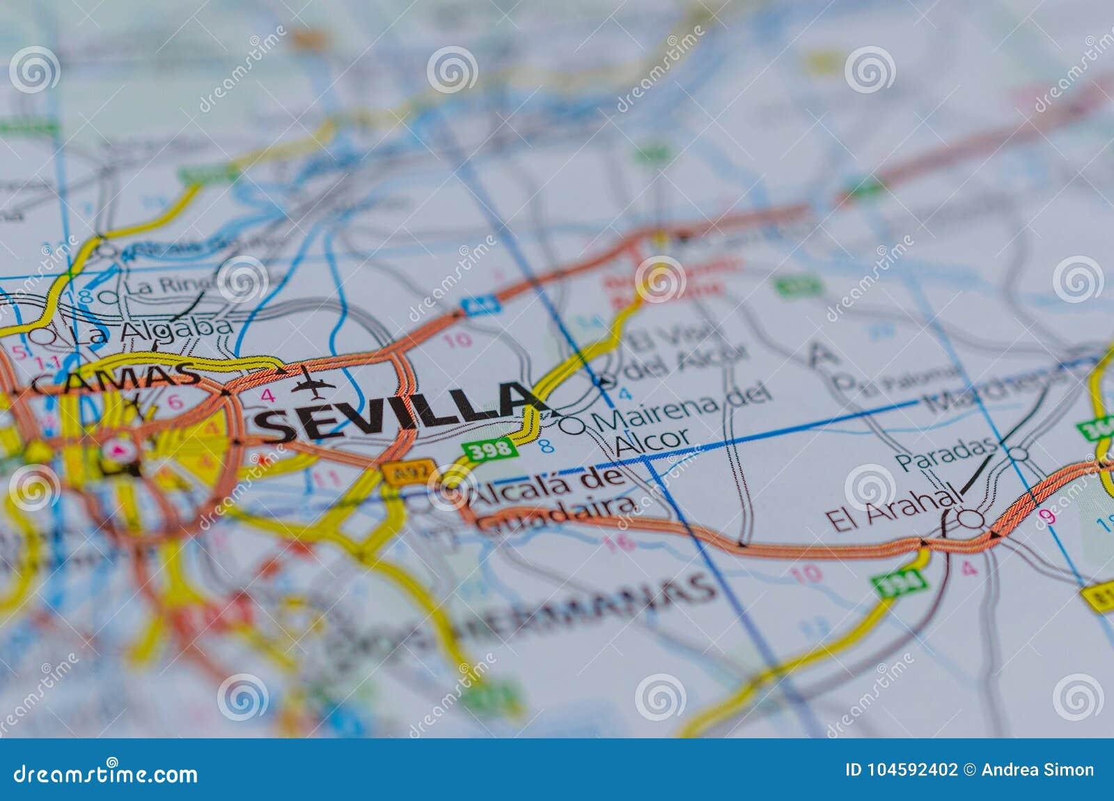 Sevilha No Mapa Foto De Stock Imagem De Euro Globo 104592402