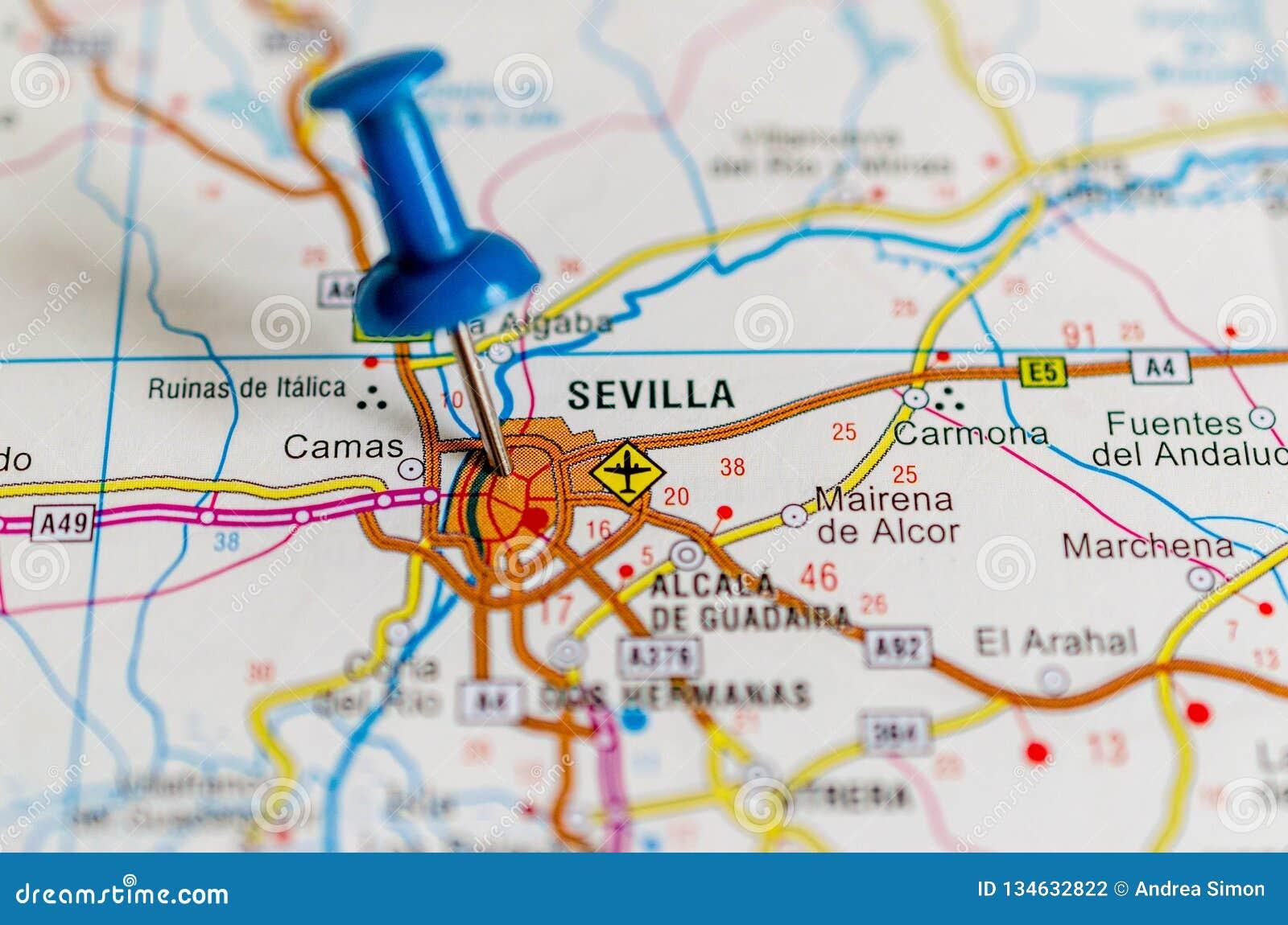 Sevilha No Mapa Foto De Stock Imagem De Beiras Macro 134632822