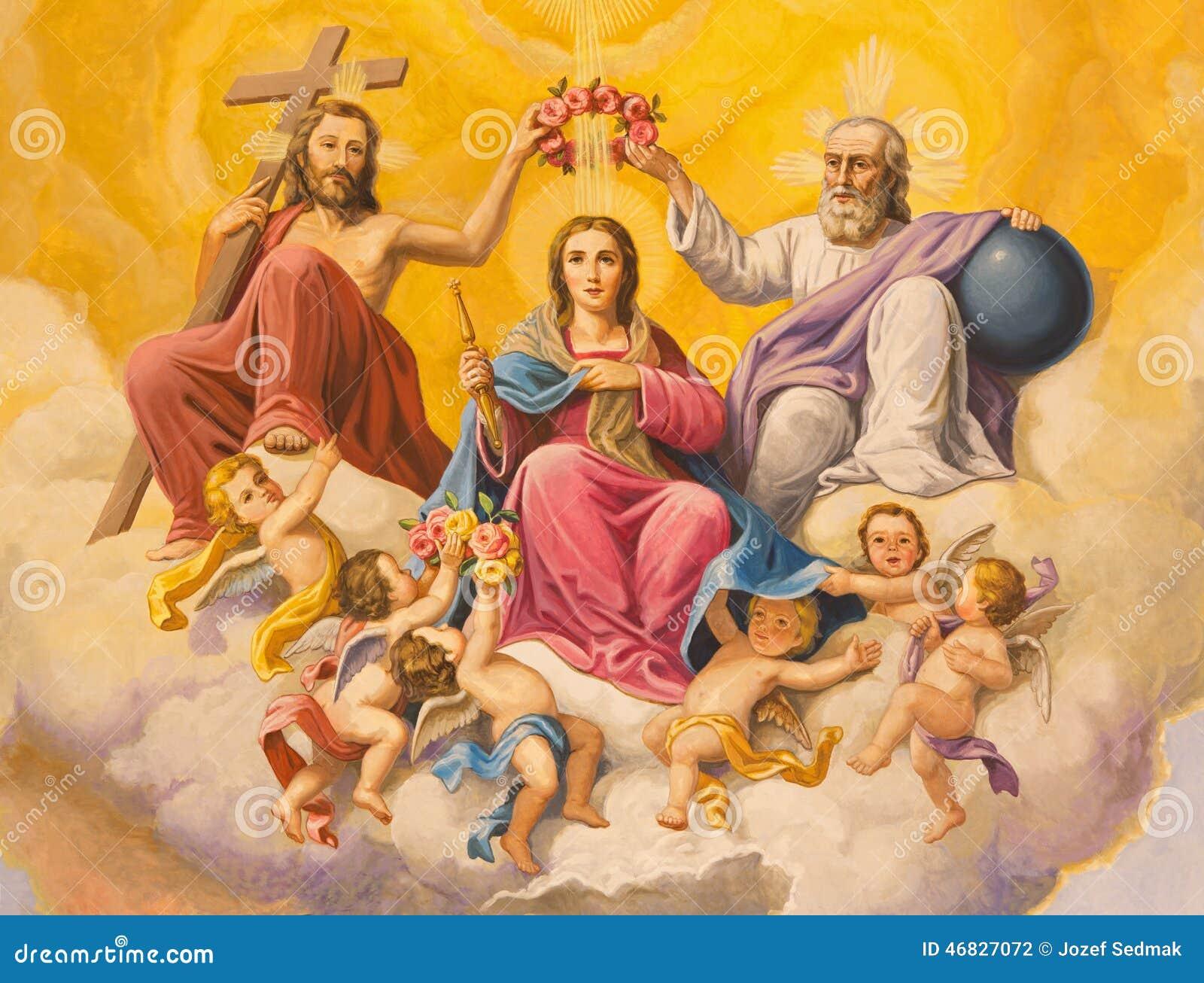Sevilla - de fresko van Kroning van Maagdelijke Mary op het plafond van pastorie van kerk Basilica DE La Macarena