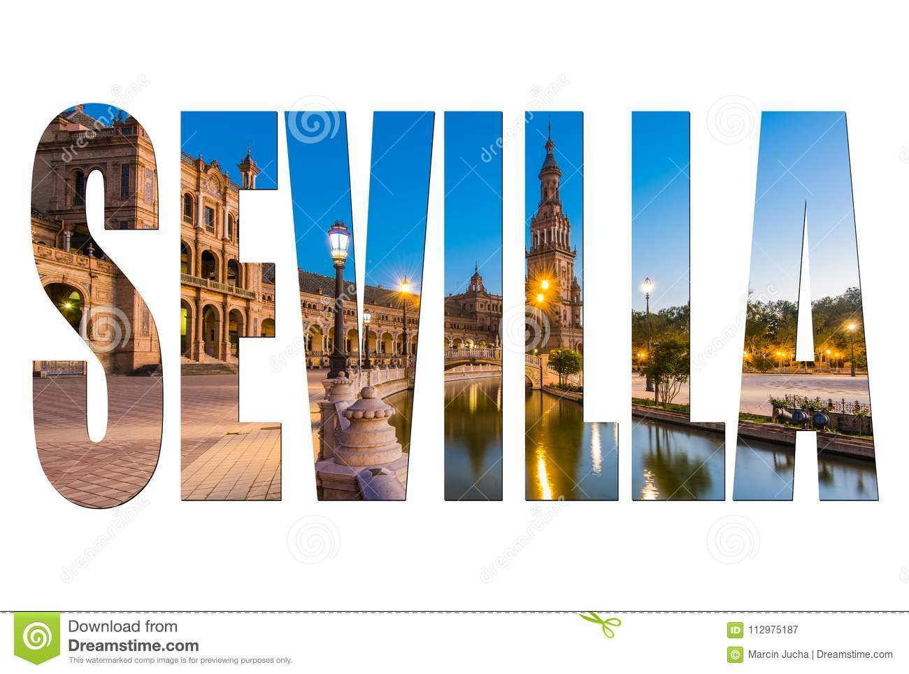 Sevilla letters isolated with image