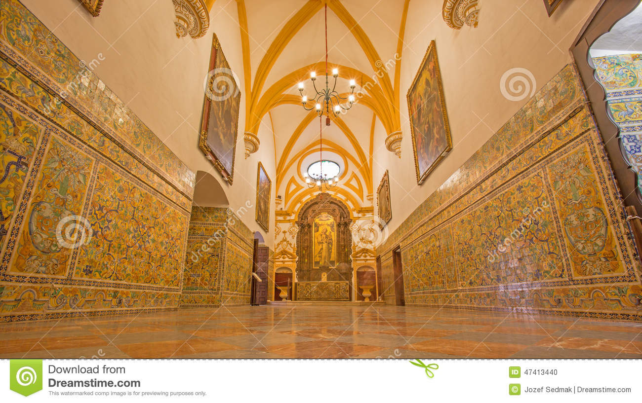 Seville The Corridor Of Gothic Palace In Alcazar Of
