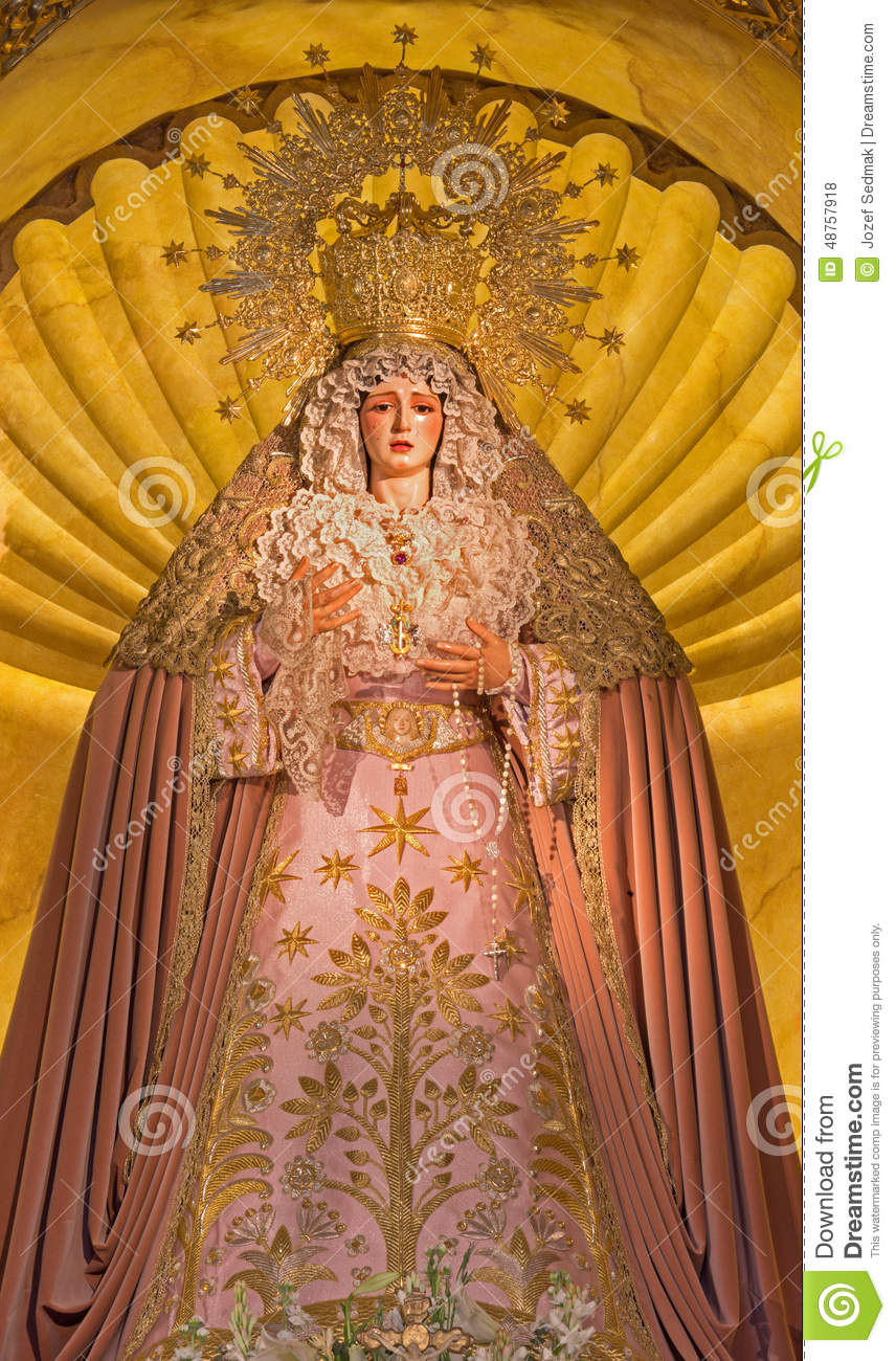 Seville Cried Virgin Mary Statue On The Main Altar In Church