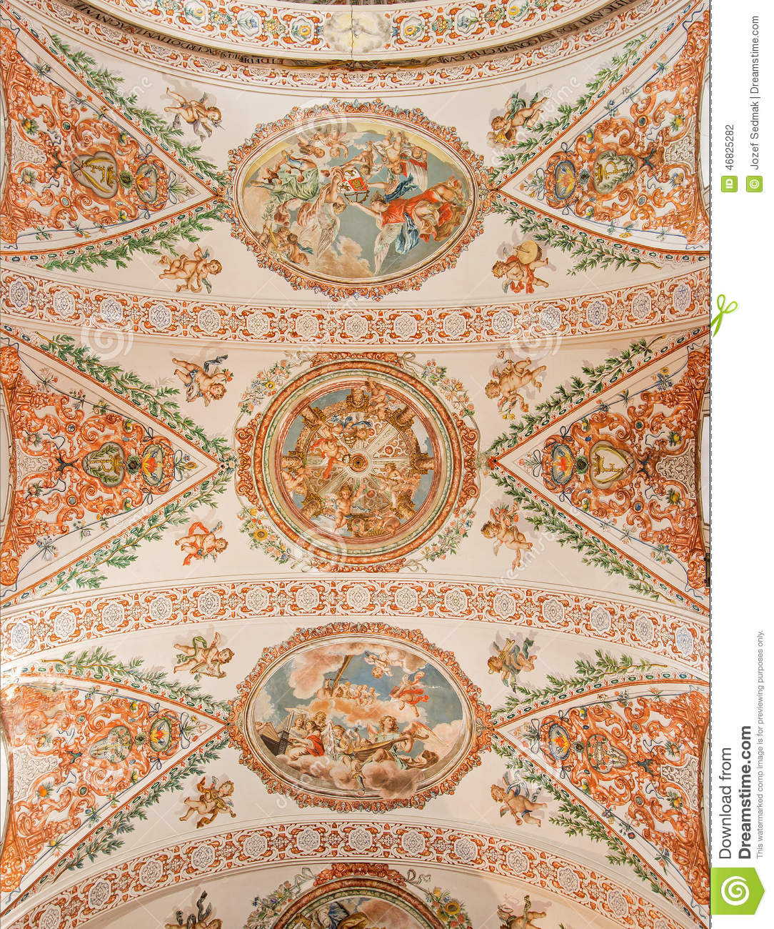 Seville - The Fresco On The Ceiling In Church Hospital De Los Venerables Sace...